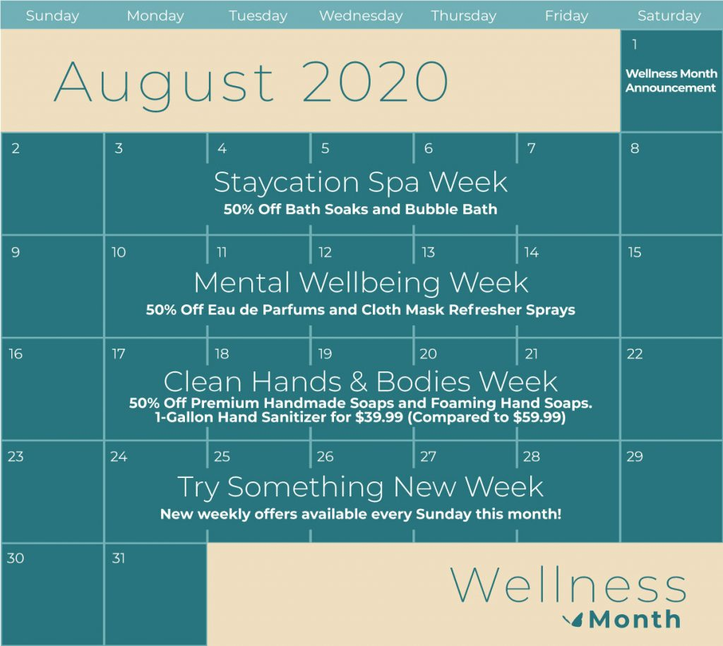 Enfusia Wellness Month Calendar Clean Hands and Bodies